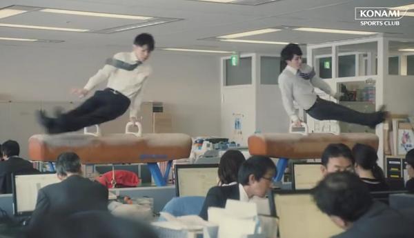 【動画】内村航平&加藤凌平がオフィスであん馬に挑戦!CM「オフィスで体操」篇.png