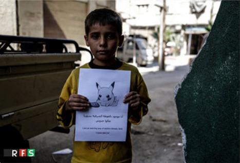 ポケモンとシリアの子供たちが「助けに来て!」架空ゲーム「シリアGO」.png
